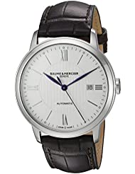 Baume & Mercier Mens Swiss Automatic Stainless Steel and Leather Casual Watch, Color:Brown (Model: MOA10214)