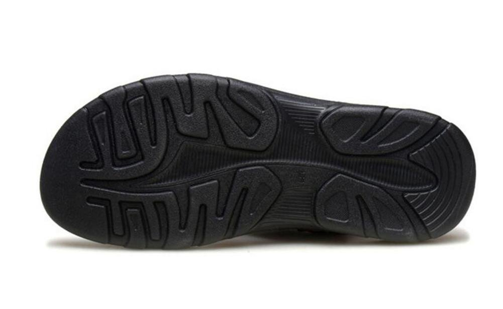 NSLXIE Männer Schuhe Sandalen Aus Echtem Leder Strand Casual Sommer Offene Spitze Flip-Flops Casual Strand Hausschuhe Rutschfeste Größe 38 Bis 43, EU43 schwarz-eu42 5a295b