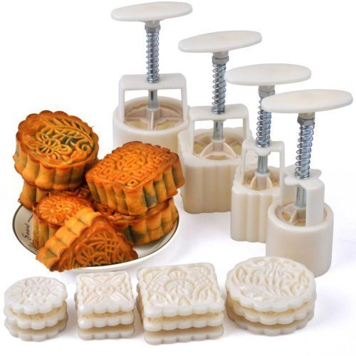 Hleeduo® Mid-Autumn Festival Hand-Pressure Moon Cake Mould With 12 Pcs Mode Pattern For 4 ()