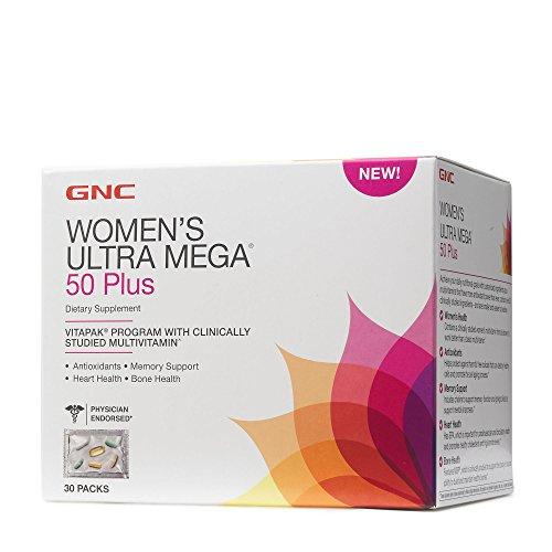 - GNC Womens Ultra Mega 50 Plus Vitapak Program, 30 Packs, for Overall Womens Health for Those Over 50