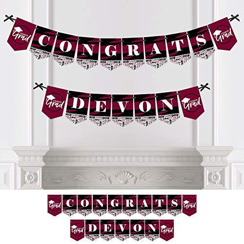Personalized Maroon Grad - Best is Yet to Come - Custom Burgundy 2019 Graduation Party Bunting Banner & Decorations - Congrats Custom Name Banner]()