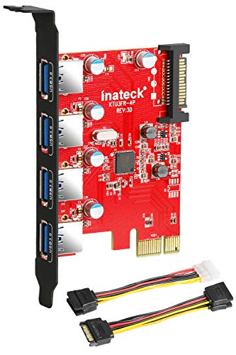 Inateck Superspeed 4 Ports PCI-E to USB 3.0 Expansion Card - Interface USB 3.0 4-Port Express Card Desktop with 15 Pin SATA Power Connector, [ Include with A 4pin to 2x15pin Cable + A 15pin to 2x 15pin SATA Y-Cable ] (KT4001) ()