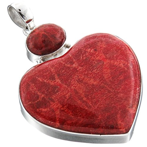 Large Red Sponge Coral Heart 925 Sterling Silver Drop Pendant, 2 1/4""