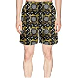 Elxie06 Abstract Music Black Mens Quick Dry Classic Fit Beach Shorts with Drawstring