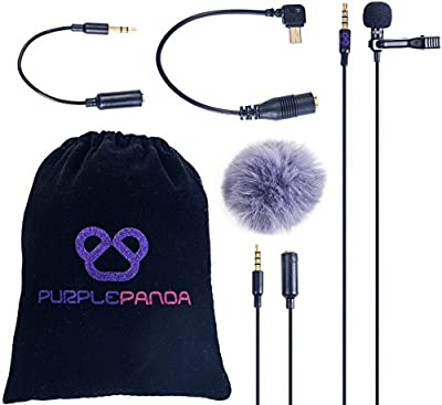 Purple Panda Lavalier Lapel Microphone Kit - Clip-on Omnidirectional Condenser Lav Mic for iPhone, iPad, Go Pro, DSLR, Camcorder, Zoom/Tascam Recorder, PC, Macbook, Samsung Android, Smartphones