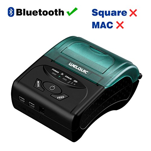 WELQUIC Portable Mini Wireless 58mm Bluetooth High Speed Direct Thermal Printer, Compatible with Android & IOS & Windows & Linux systems and ESC / POS Print Commands Set by WELQUIC (Image #1)