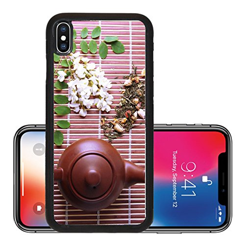Snap Infusion Snap (Liili Premium Apple iPhone X Aluminum Backplate Bumper Snap Case natural floral tea infusion with dry flowers ingredients on bamboo mat background 29374900)