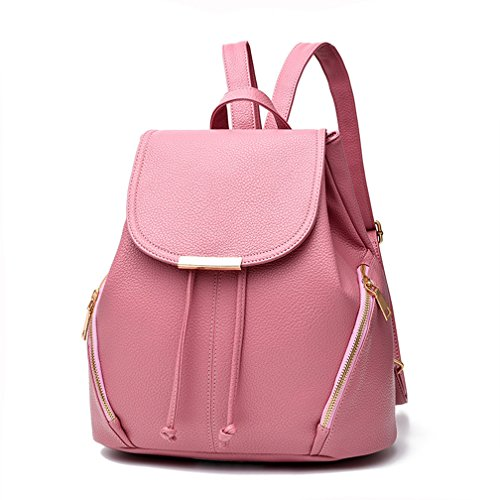 Pink Hellofuture School for Stylish Solid Casual womens Backpack PU Travel Backpack Bag Trendy girls and Outdoor Fashion Daypack Leather UqUAwp