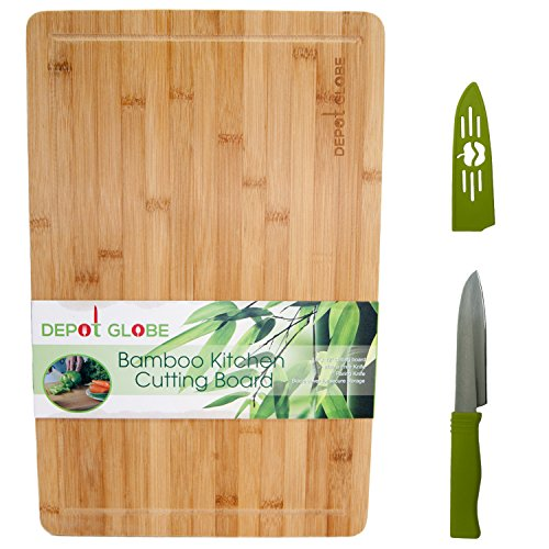 Bamboo Kitchen Cutting Board And Serving Tray 18'X12' - Cut Cheese, Meat, Vegetables, Fruits - Comes with FREE 4' inch Knife - By Depot Globe (The Big Cheese compare prices)
