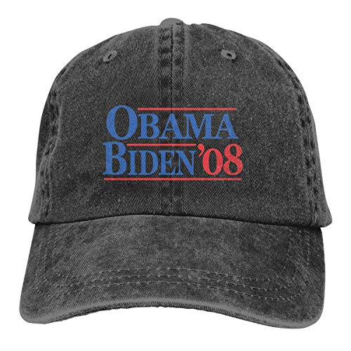 Obama Biden 08 Adult Dad Hat Baseball Hat Vintage Washed Distressed Cap Black ()