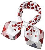corciova Women 100% Mulberry Silk Neck Scarf Small Square Scarves Neckerchiefs White Red Love Heart Design