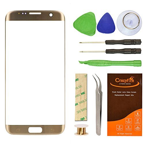 CrazyFire Compatible with Samsung Galaxy S7 Edge Gold Replacement Front Outer Lens Glass Screen with Repair Kit for G935V G935P G935F G935T G935A