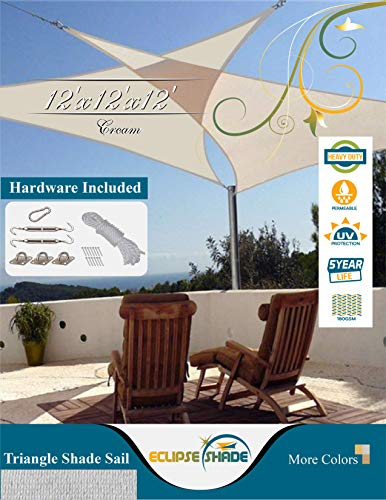Eclipse Shade 12 x12 x12 Heavy Duty Triangle Shade Sail, Cream Color Hardware Included Canopy Awning UV Resistant Porch Cover