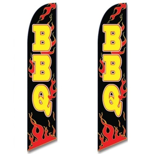 Twin Pack Full Sleeve Swooper Flags BBQ Black w Yellow Text & Red Flames -