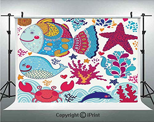 - Whale Photography Backdrops Funny Fishes Starfish Coral Crab Underwater Life Waves Marine Clipart Illustration,Birthday Party Background Customized Microfiber Photo Studio Props,8x8ft,Multicolor
