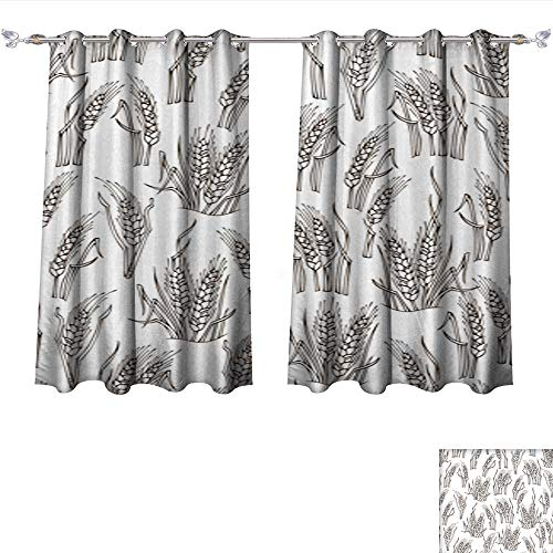 4 Light Wheat Chandelier (Waterproof Window Curtain Vector Seamless Sketch Wheat Pattern Tie Up Window Drapes Living Room W108 x L72/Pair)