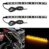 Partsam 2x Universal Motorcycle Bike 12LED Turn Signal Indicator Strip Light Blinker Lamp