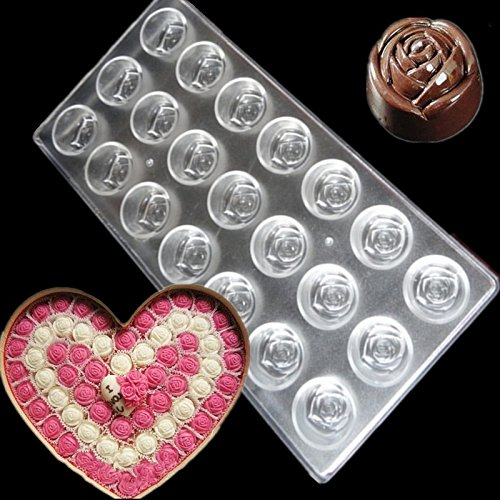 Rose Flower Cake Chocolate Mold 21 Cups Anti-Wrestling Plastic Polycarbonate Candy Jelly Mould Bakeware Tool Kitchen - The Polycarbonate Shop