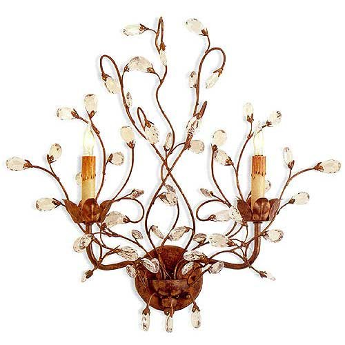 (Currey and Company 5882 2 Light Crystal Bud Wall Sconce, Cupertino Finish)