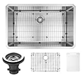 VIGO VGR3019CK1 Mercer 30 inch Undermount Stainless Steel Kitchen Sink Set with Rounded Corners, Grid and Strainer, 16-Gauge Single Bowl. Commercial Grade Premium Satin Finish