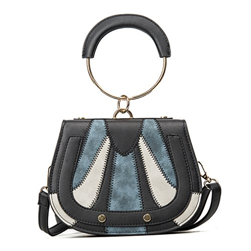 Handle Bag NEW amp;Demons PU Leather Handbags Women Handbag Patchwork Top Black Ring Fashion Angels 8Zqpn4q