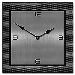Heavy Metal Square Clock, 12-48, Whisper Quiet, non-ticking
