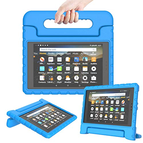 TIRIN Kids Case for All-New Fire HD 8 2018/2017 - Lightweight Shockproof Convertible Handle Stand Case for Amazon Fire HD 8 Tablet (8th/7th Generation, 2018/2017 Release), Blue