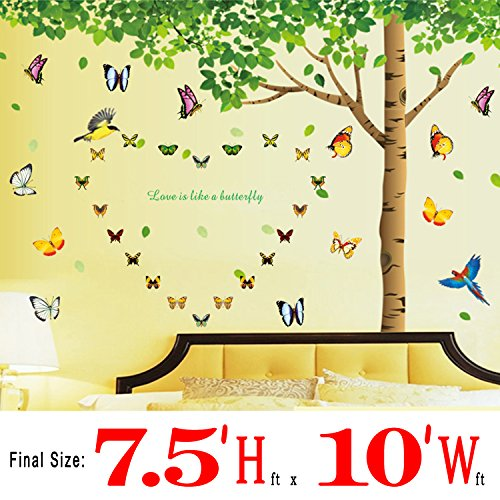Colorful-decals©, Huge size 7.4'(h) X 9.7'(w) with 40 Butterflies, Big Tree Wall Decals Add Butterflies Birds Large Wall Decor Green Leaves Removable Wall Stickers for Home Living Room Bedroom