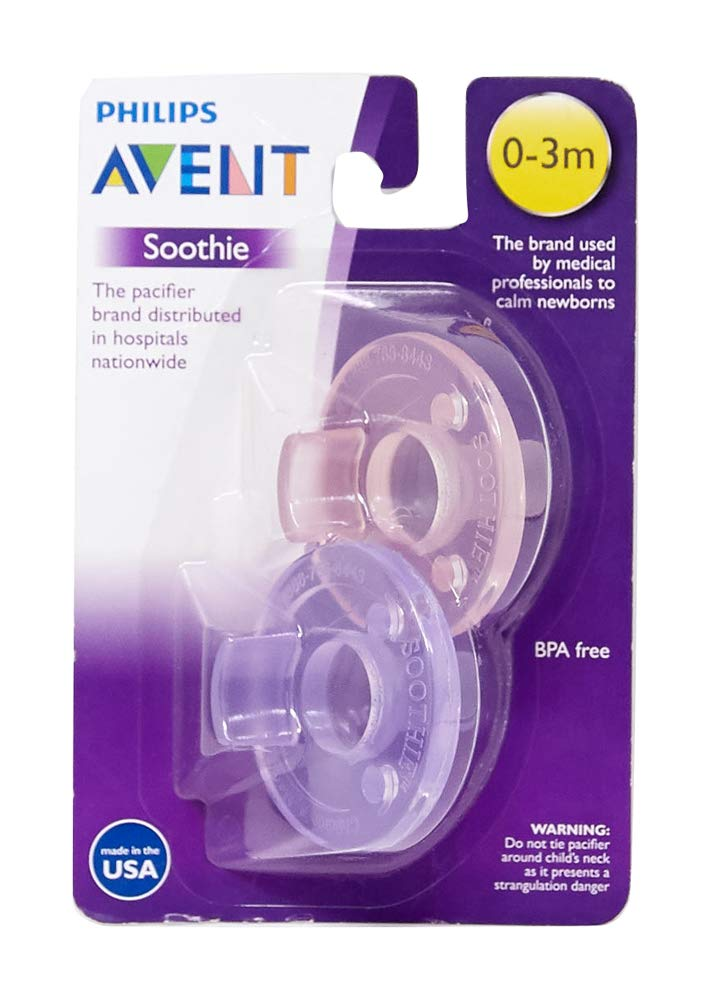 Philips Avent Soothie Pacifier, Pink/Purple, 0-3 Months, 2 Count