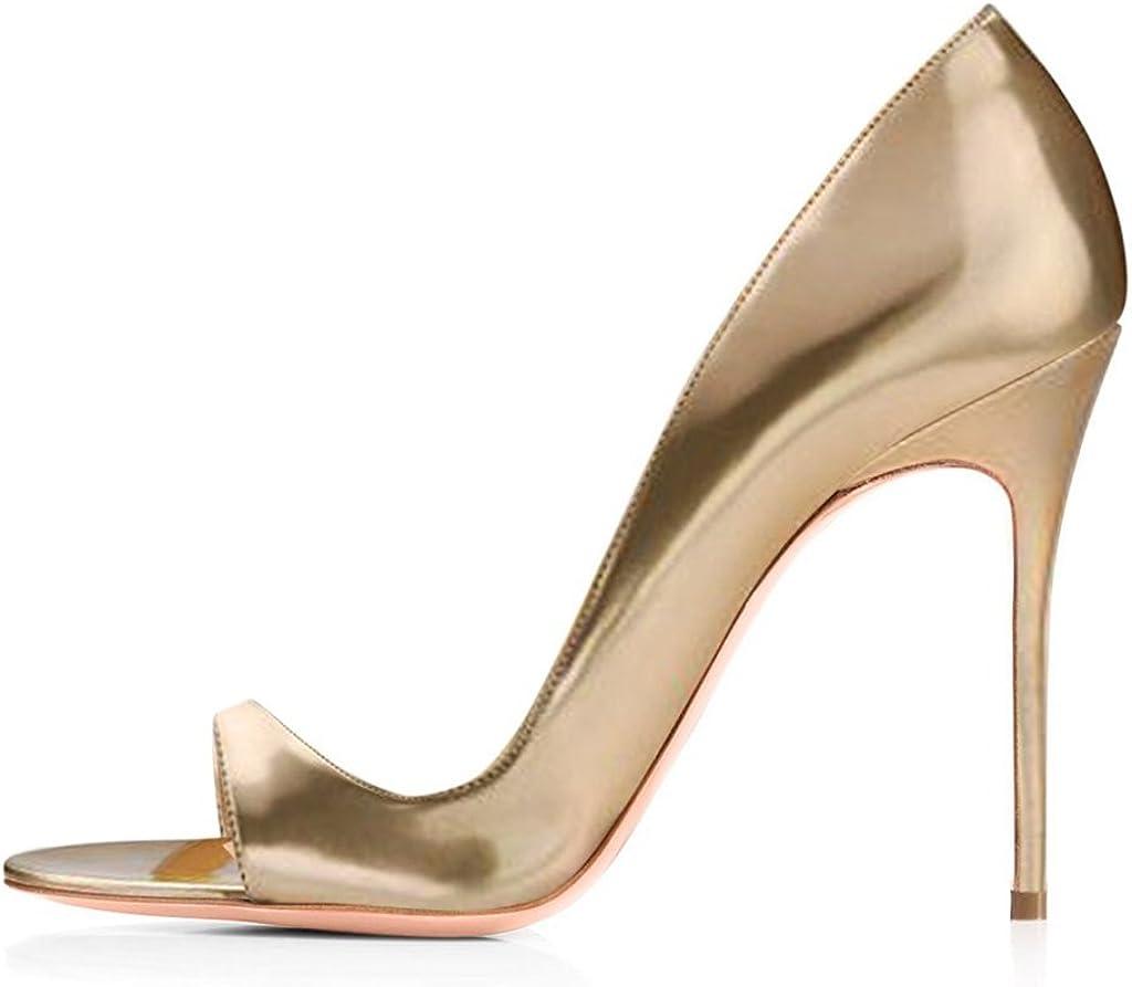 12CM Peep Toe Sandali elashe Scarpe da Donna Classiche Scarpe col Tacco Nero Tacco a Spillo