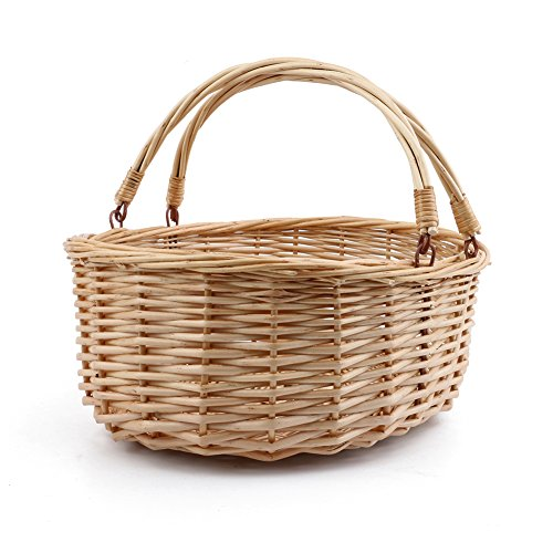 MEIEM Wicker Picnic Basket Hamper with Double Folding Handles, Oval Storage Basket with Handles. (Natural)