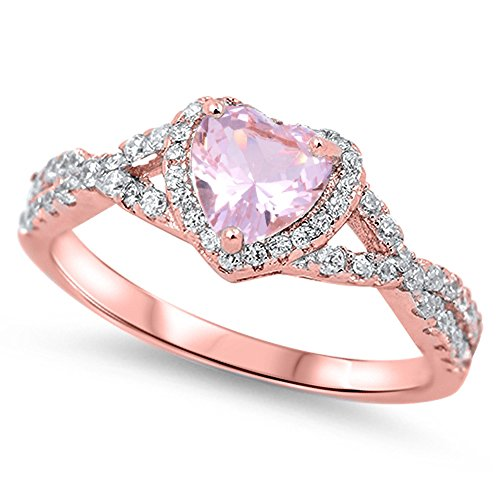Pink CZ Rose Gold-Tone Heart Ring .925 Sterling Silver Vintage Band Size 11