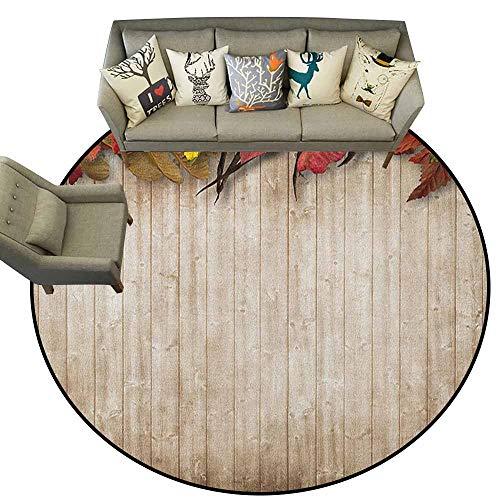 Round Area Rugs Living Room Carpet,Fall,Autumn Leaves and Berries Border on Vintage Wooden Background Botanical Vivid Print, Multicolor,Shoe Scraper Door Mat Living Room Rug3 feet