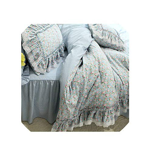 - New Fresh Flowers Print Bedding Set Lace Ruffle Duvet Cover Quality Embroidery Bed Sheet Pastoral Bed Skirt Bedspread Bedding,Plaid Bedskirt Type,King Plus