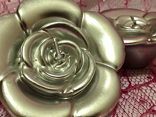6 Silver Rose Floating Candles Wedding Sweet 16 Party Supply