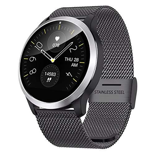 QKa IP68 Smart Watch mit EKG, Blutdruck-Herzfrequenzmessgerät, Smartwatch mit Edelstahlarmband und Einstellbarer…