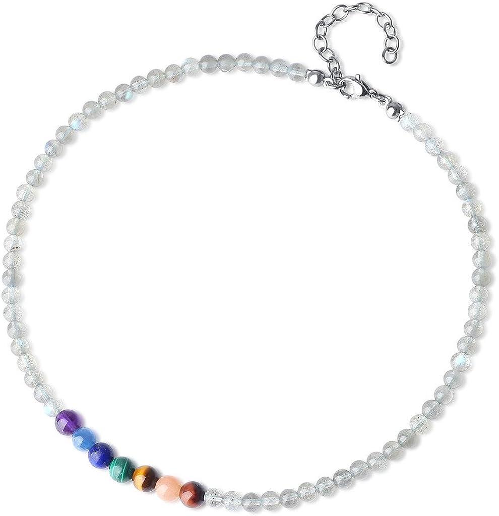 COAI® Collar Choker Ajustable de Piedras 7 Chakra Cuenta Mala Labradorita