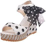 KUAIDO Sandals for Women Wedge Platform Sandals Open Toe Roman Shoes Summer Beach High Heel Sandals Dot Lace-u