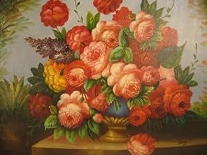 Aceite de pintura Bodegón Cumpleaños Gruss de Galerie. Pintado a mano 50x 60cm Top