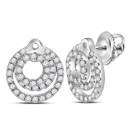 (Diamond Circle Stud Earrings 1/2ct 14k White Gold)
