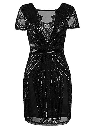 Vijiv 1920s Short Prom Dresses V Neck Inspired Sequins Cocktail Flapper Dress,Pure Black,XS