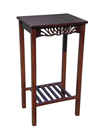 Delightful D ART Tall Telephone End Table   In Mahogany Wood