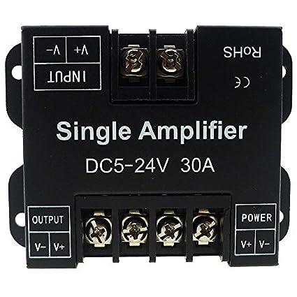 LEDENET Single Color LED Amplifier 30A Data Signal Repeater 1CH 1 Channel  Dimmer Power Amplifier for White LED Strip Lights 5V 12V 24V (30A Single