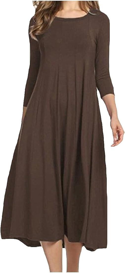 Vska Women V-Neck Boho Short Sleeve Chiffon Swing Long Maxi Dress