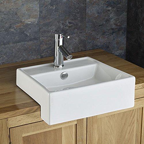Clickbasin Gandra 38cm X 38cm Semi Recessed Square Bathroom Washbasin
