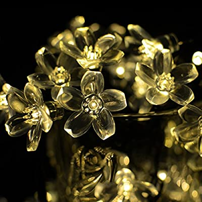 Vmanoo Battery Operated Timer String Lights 50 LED Blossom Flower Fairy Christmas Lighting Decor with For Outdoor Indoor Garden Patio Bedroom Wedding Decorations