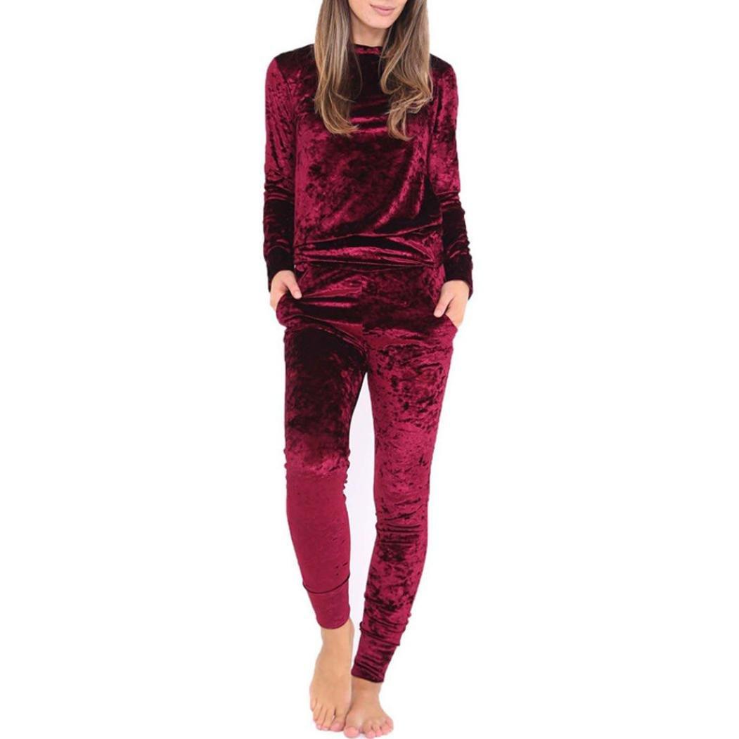Yoyorule Women Crushed Velvet Lounge Suit Casual Sweatshirt + Pants Tracksuit Set