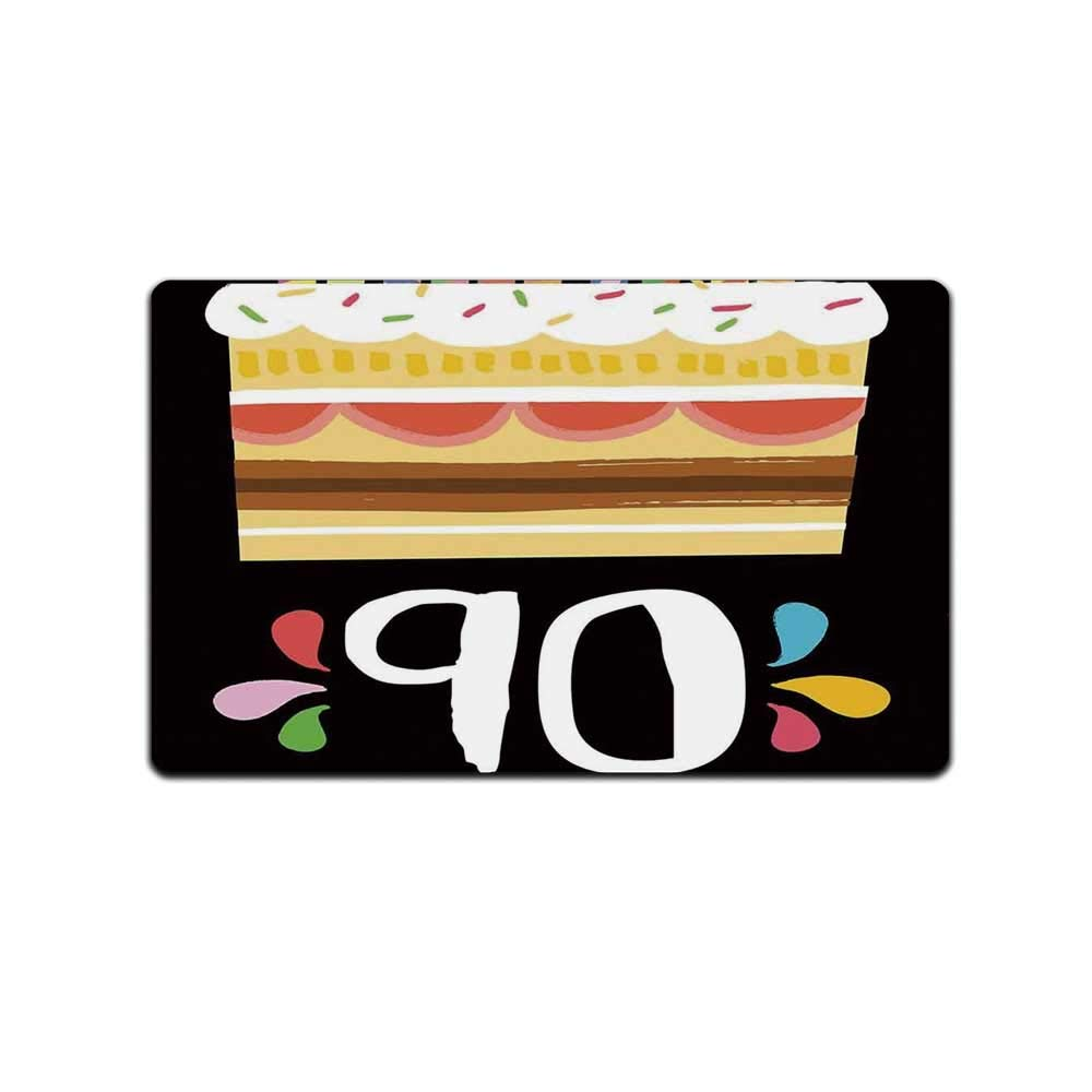 YOLIYANA 90th Birthday Decorations Durable Doormat,Colorful Party Set Up on Black Background Cake Candles Artistic for Bed Room,31'' Lx19 W