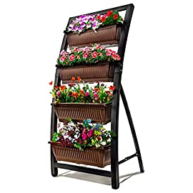 "6-Ft Raised Garden Bed - Vertical Garden Freestanding Elevated Planter with 4 Container Boxes - Good for Patio or Balcony Indoor and Outdoor - Cascading Water Drainage 7 ✓ EASY TO ASSEMBLE w/ CASCADING DRAINAGE SYSTEM - with easy to follow instructions included, assembly of your garden planters will be quick and simple. The drainage system lets water flow from the top down to each succeeding row to ensure all plants are adequately watered and no stagnant water remains. ✓ PERFECT TIGHT SPACE SOLUTION - Each hanging plastic box container is 27"". Provides adequate room for your plants without wasting any precious space in a small apartment, patio, balcony, yard, deck, front porch or any outside area. Grow a variety of herbs, seeds, flowers, succulents or vegetables in just a single area at home. ✓ MODERN ERGONOMICALLY DESIGNED & AESTHETICALLY PLEASING - if you are unable to enjoy gardening due to hip and back issues, this is the product you are looking for. Having a farmhouse garden has never been this easy; especially for seniors. Add a unique beauty and style unlike any other to your deck, patio or yard!"