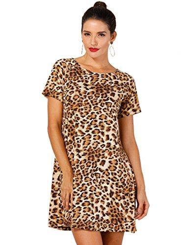 Ethnic Print Knit Dress - OEUVRE Women Chic Leopard Print Babydoll Tunic Dress Knee Length LightLeo 18